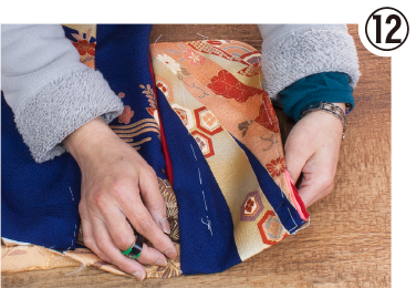 ⑫袖付け(身頃と縫い合わせ)